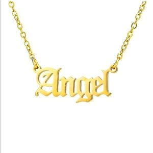 Gold Angel Nameplate Necklace